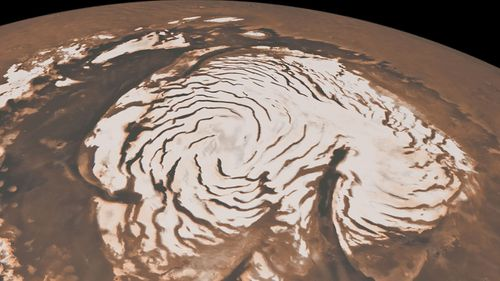 This image, combining data from two instruments aboard NASA's Mars Global Surveyor, depicts an orbital view of the north polar region of Mars.