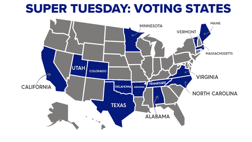 The states voting on Super Tuesday, representing more than a third of the population of the United States.