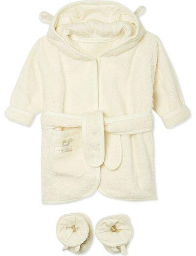 """<p><a href=""""http://www.selfridges.com/AU/en/cat/natures-purest-pure-love-bathrobe-26-slippers-set-0-6-months_164-3001276-10251/"""" target=""""_blank"""">Nature's Purest Pure Love Bathrobe &amp; Slippers Set 0-6 months, $54.</a></p>"""