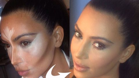 Pics: Here's how much make-up Kim Kardashian slaps on to look good