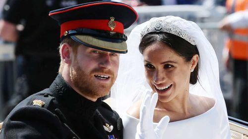 Meghan and Prince Harry on their wedding day.
