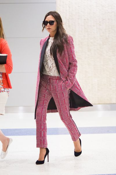 Victoria Beckham in a pant suit of her design in New York City May 2015