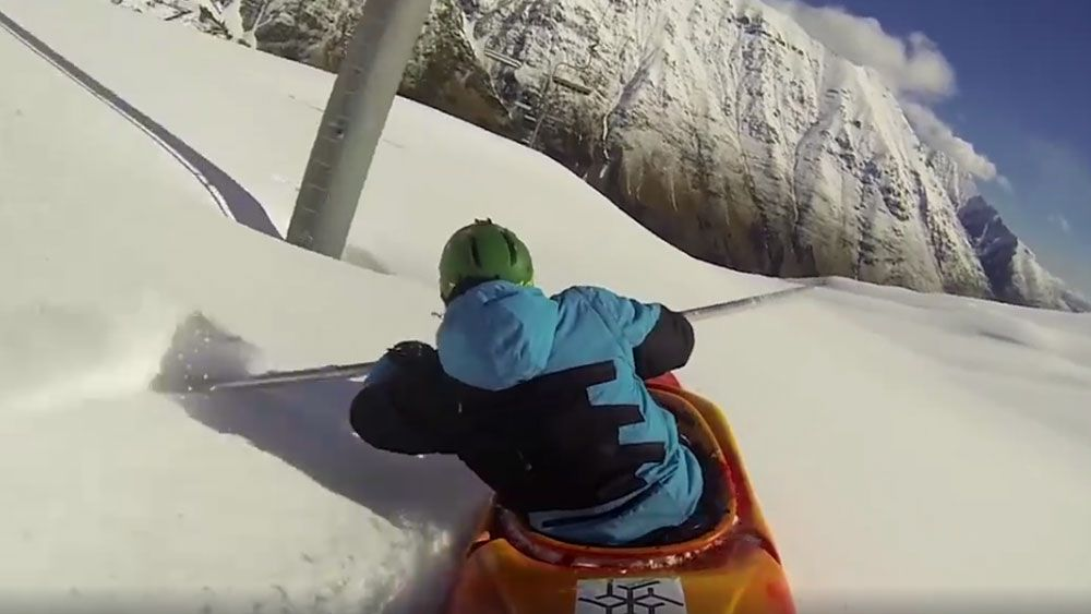 Kayaker conquers the snow slopes