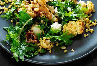 "Recipe: <a href=""  /recipes/icauliflower/9095328/cauliflower-freekah-and-goats-cheese-salad "" target=""_top"">Cauliflower, freekah and goat's cheese salad</a>"