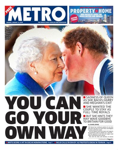 The Metro UK front pages Prince Harry Meghan Markle royal exit