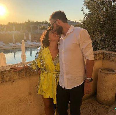 Zoë Foster Blake in Italian label Dimora Deluxe, with husband Hamish Blake in Europe