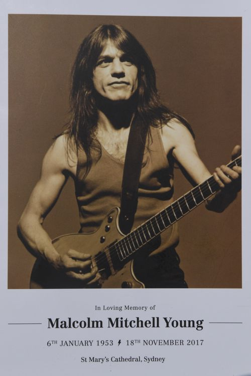 The program for Malcolm Young's funeral today. (AAP)