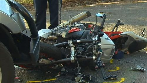 The male motorcycle rider died from his injuries. Image: 9News