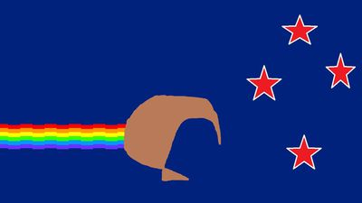 "<p>""This flag combines the Southern Cross and colour scheme of our existing flag, with the rainbow design of the popular Nyan Cat meme. The kiwi's colour represents our mixed race society, and its trail represents the colourful variety of cultures present in New Zealand society.""</p> <p>Nyan Kiwi by Fosh from Wellinton. (NZ Government)</p>"