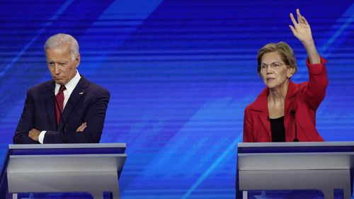 Joe Biden and Elizabeth Warren during the Democratic debate in Houston, Texas.