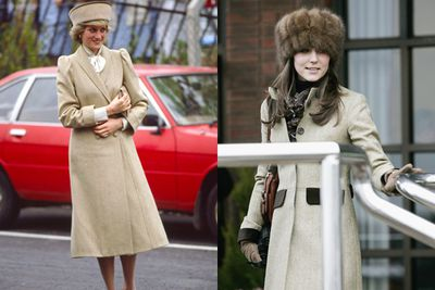 Long beige coats and statement hats.