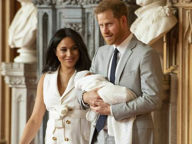 Prince Harry and Meghan Markle with royal baby