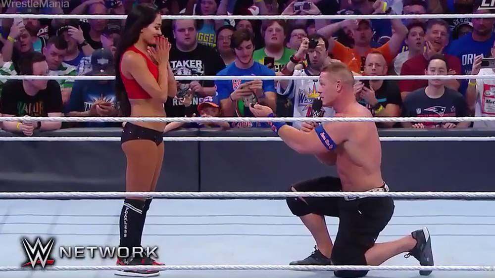 John Cena proposes to Nikki Bella at WWE event Wrestlemania