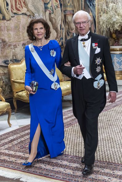 Swedish royals wear tiaras for Nobel Prize Kings Dinner inside palace