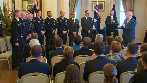 The rescuers were honoured at a ceremony at Government House today. Picture: 9NEWS