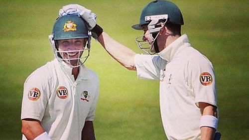 Michael Clarke and Phillip Hughes share a moment. (Instagram)