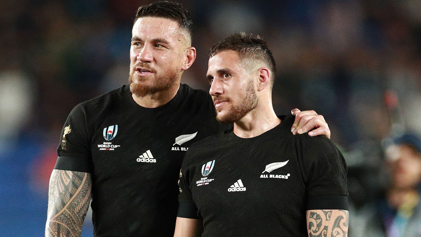 Sonny Bill Williams of New Zealand and TJ Perenara of New Zealand are seen after the Rugby World Cup 2019 Group B game between New Zealand and South Africa at International Stadium Yokohama on September 21, 2019 in Yokohama, Kanagawa, Japan. (Photo by Adam Pretty/Getty Images)