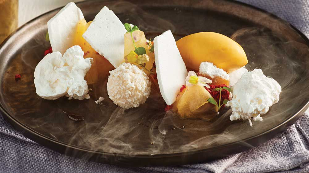 'Christmas in summer' nitro plate with pineapple, passionfruit and meringue by Reynold Poernomo for Ferrero