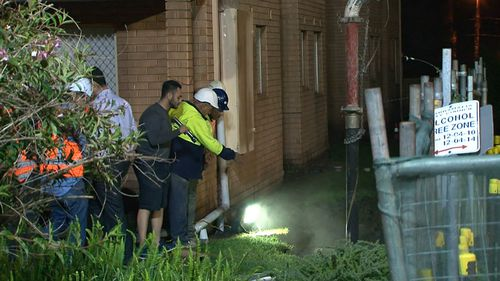 Workers filled the holes with cement overnight. (9NEWS)