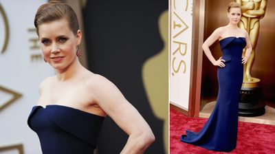 Best actress nominee Amy Adams goes for a deep, sultry look in a navy gown complete with a smokey eye.