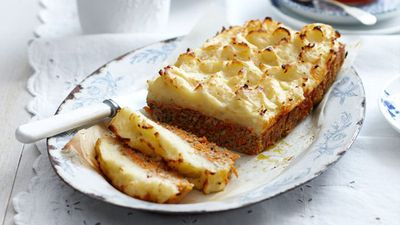 """Recipe:&nbsp;<a href=""""http://kitchen.nine.com.au/2016/05/16/11/45/mashed-potato-meatloaf-for-10"""" target=""""_top"""">Mashed potato meatloaf<br /> </a>"""