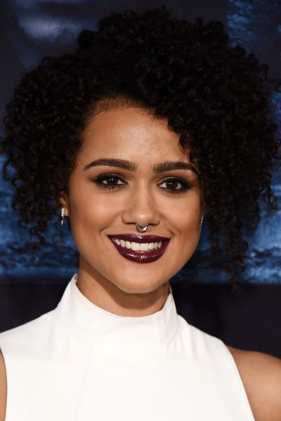 Nathalie Emmanuel's curly locks, statement lips and nose piercing were lifted straight from Missandei's beauty repertoire.