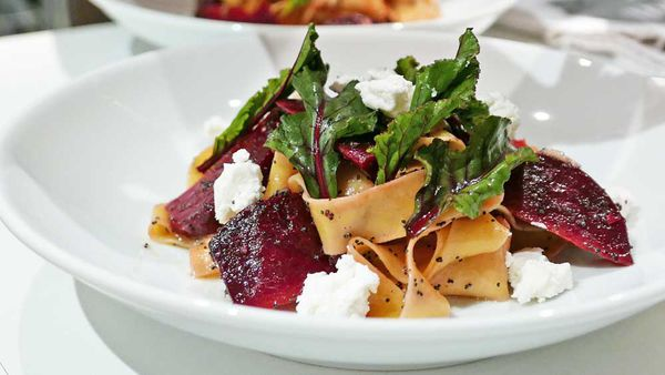 Pappardelle all'uovo with smoked beetroot and goat's cheese by Biota's James Viles and Barilla