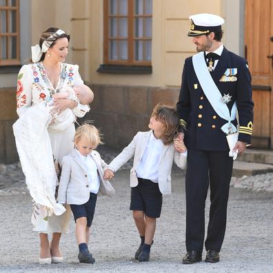 Prince Carl Philip, Princess Sofia, Prince Alexander, Prince Gabriel and Prince Julian attend Prince Julian's baptism outside Drottningholm Castle Chapel on August 14, 2021