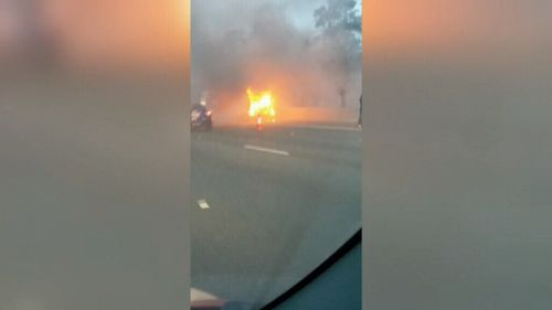 Kombi van fire causes long delays on West Gate Freeway