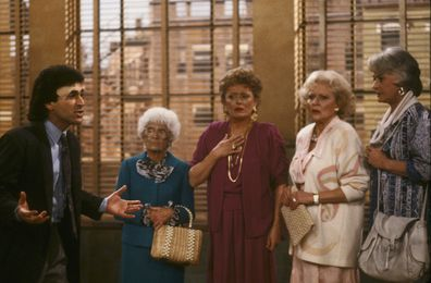 Chick Vennera, Betty White, Rue McClanahan, Bea Arthur and Estelle Getty in The Golden Girls.