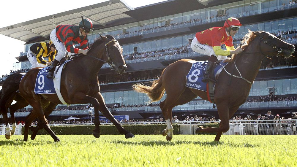 Hugh Bowman scored strongly on board Invader in the Sires' Produce Stakes at Randwick. (AAP)