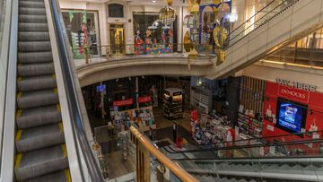 An empty shopping arcade in Melbourne in August, 2020.
