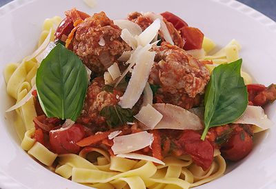 Meatballs with fettuccine