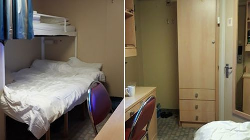 The small cabin crew on board a Royal Caribbean cruise ship were forced to stay in with no window, or balcony.