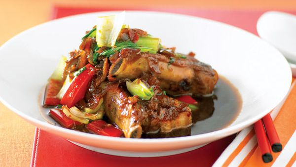 Braised pork ribs with asian vegies