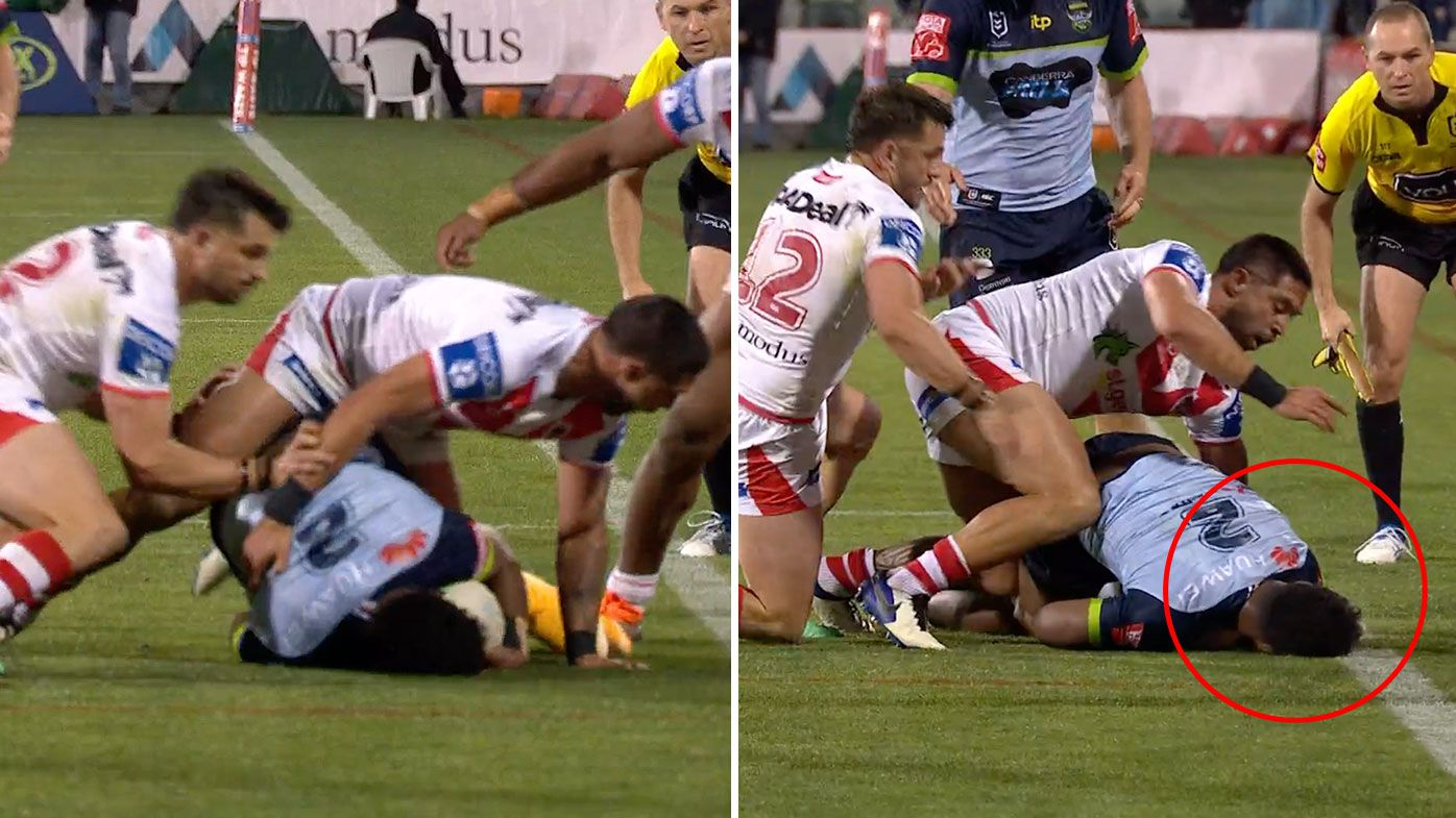 'It would've been a penalty': Raiders controversially denied in last-ditch play as Dragons hang on