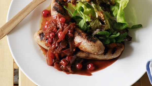 Sausages with redcurrant & red onion relish