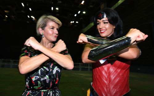 Bishop showed off her superhero stance alongside Wonder Woman. (AAP)