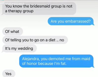 Fat bridesmaid text