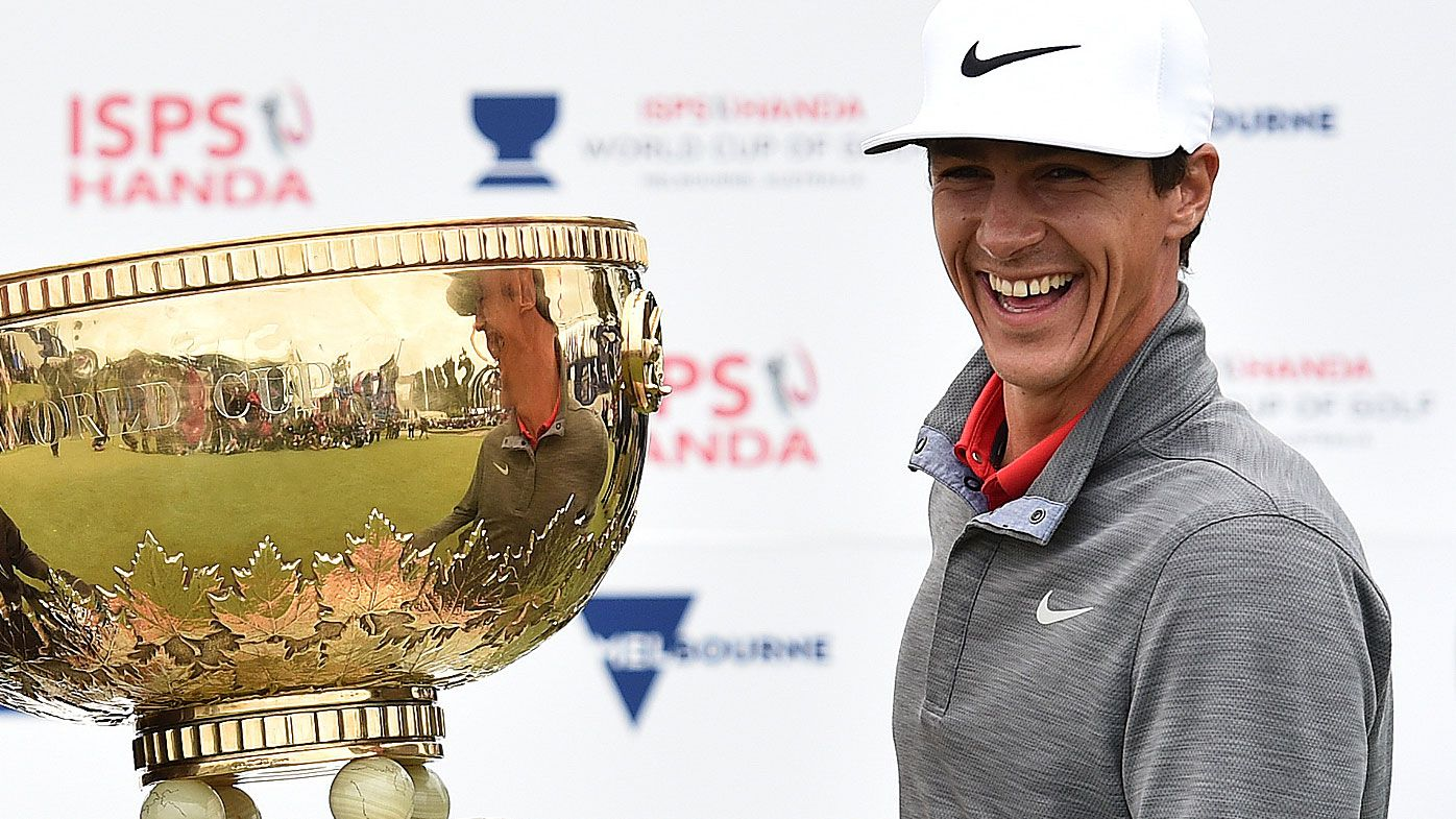Thorbjorn Olesen of Denmark celebrate winning the World Cup of Golf