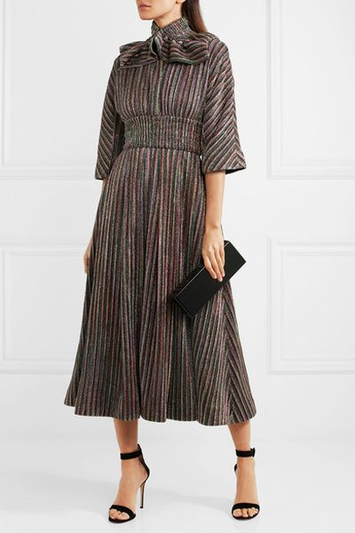 "Emilia Wickstead metallic dress, $2161.50 at <a href=""https://www.net-a-porter.com/au/en/product/981996/emilia_wickstead/striped-metallic-ribbed-knit-midi-dress"" target=""_blank"">Net a Porter</a><br />"