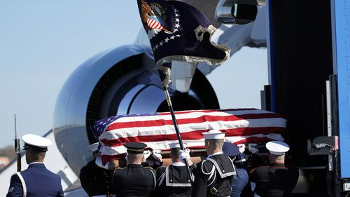 A full naval and military procession was in attendance to send off the former 41st President of the United States.