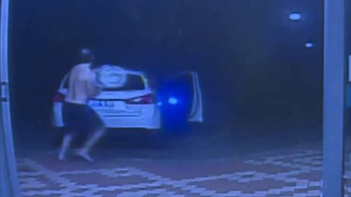 Mr Nevo told 9NEWS one of the men attempted to assault him before he chased them and smashed the rear of their vehicle. Picture: Supplied.