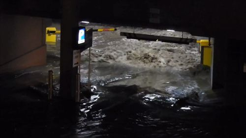 Torrential downpours lashed Hobart overnight. (9NEWS)
