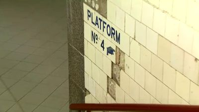 Tiles on the walls of the pedestrian underpasses are crumbling due to vandalism and water damage. (9NEWS)