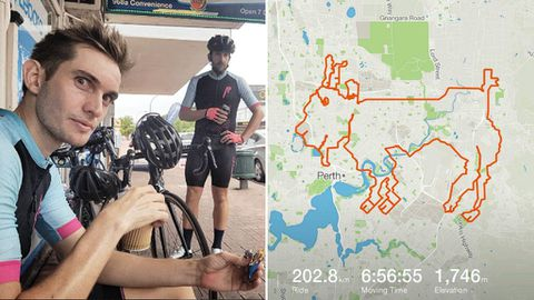 A Perth cycling group has mapped the image of goat over an eight-hour, cross-suburb bike ride.(Instagram/jen.bonez)
