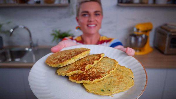 Jane de Graaff cooks 3-ingredient chickpea pancakes in the 9Honey Quarantine Kitchen