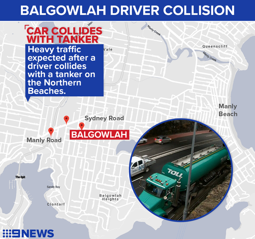 The collision is expected to cause significant delays for north bound drivers on Manly Road.
