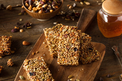 Homemade raw energy seed breakfast bar