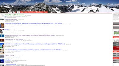 The subreddit /r/australia page rebranded to become /r/austria with Alps, flag and language included (supplied)